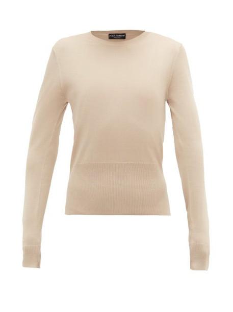 Dolce & Gabbana - Silk-jersey Top - Womens - Beige