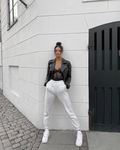 jacket,black leather jacket,joggers,white sneakers,lace lingerie