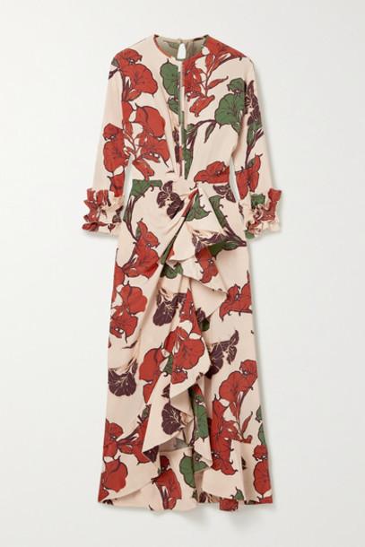 Johanna Ortiz - Wrap-effect Ruffled Floral-print Silk Crepe De Chine Midi Dress - Blush