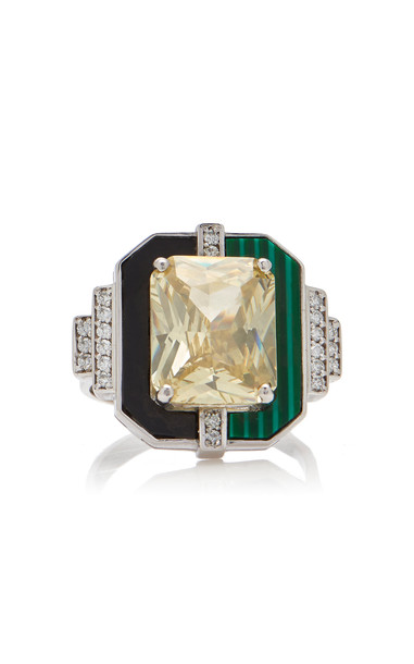 Melis Goral 18K White Gold And Multi-Stone Ring Size: 7 in yellow