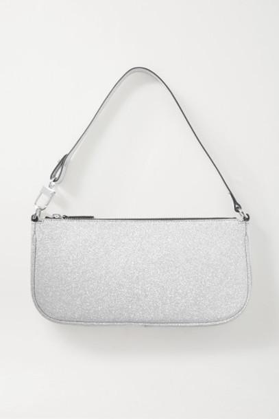 BY FAR - Rachel Glittered Leather Shoulder Bag - Silver