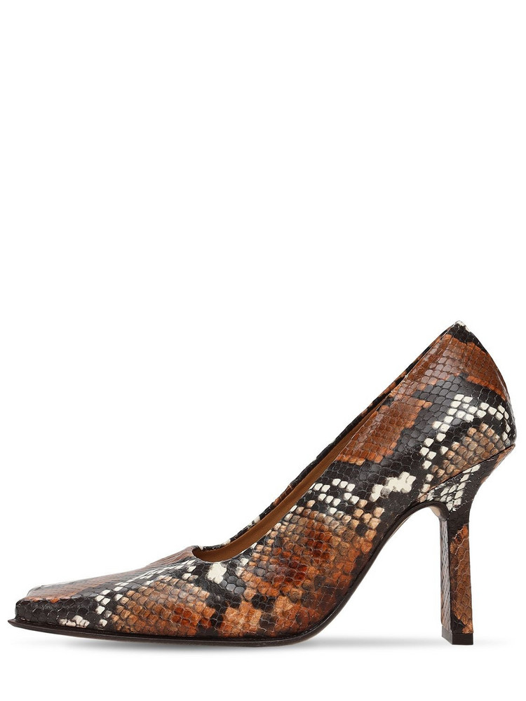 MIISTA 90mm Orana Snake Print Leather Pumps in brown / multi