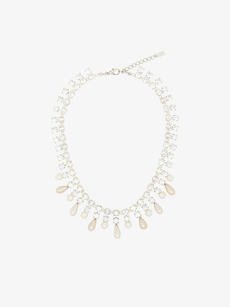 Alessandra Rich pearl and crystal necklace in white