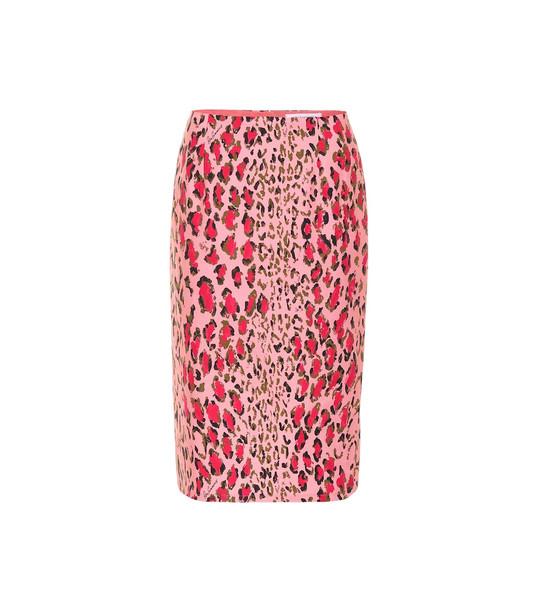 Carolina Herrera Printed stretch-cotton skirt in pink