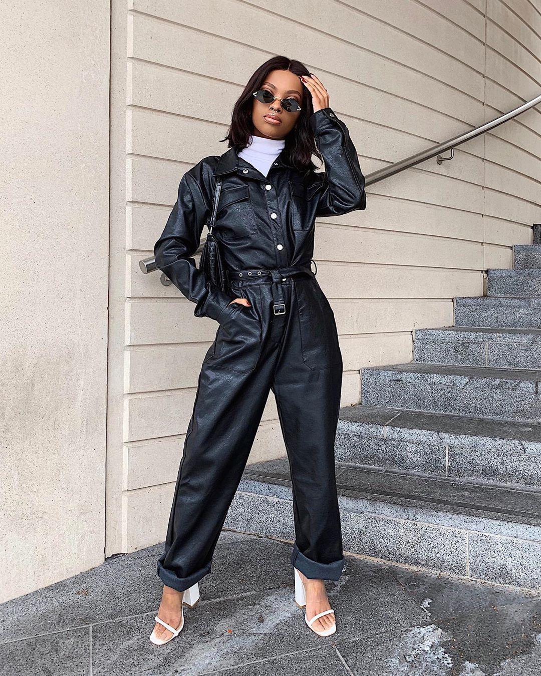 jumpsuit black jumpsuit leather nastygal white sandals white turtleneck top