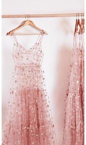dress,pink,stars,sparkle,pink dress,sheer,see through dress,pink sheer dress,rose,rose gold,rose dress,embroidered dress,mesh,see through,pastle