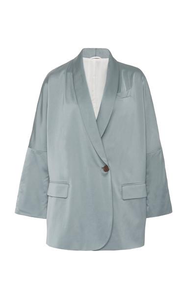 Brunello Cucinelli Oversized Satin Blazer Size: 40 in white