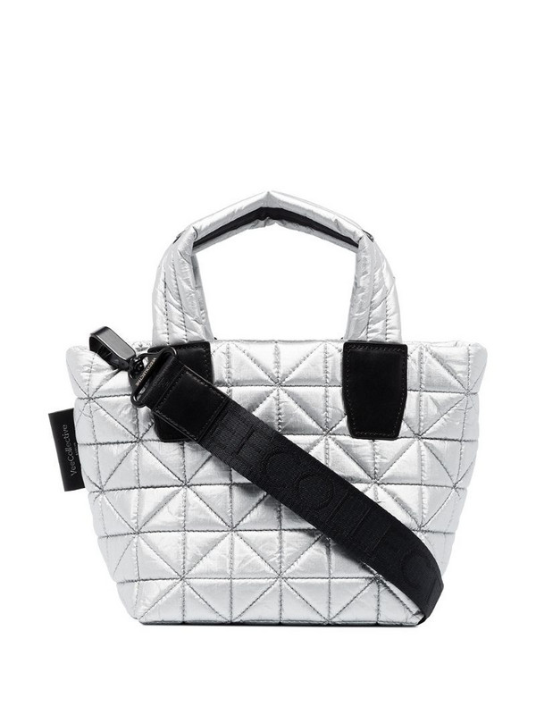 VeeCollective quilted mini tote in silver