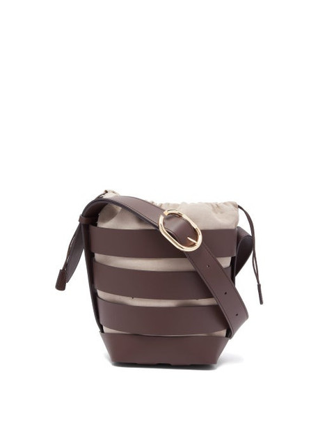 Paco Rabanne - Cage Leather Bucket Bag - Womens - Brown Multi