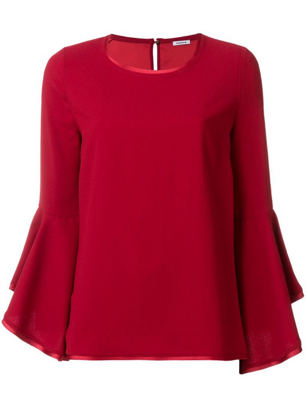 P.A.R.O.S.H. fluted sleeve top in red