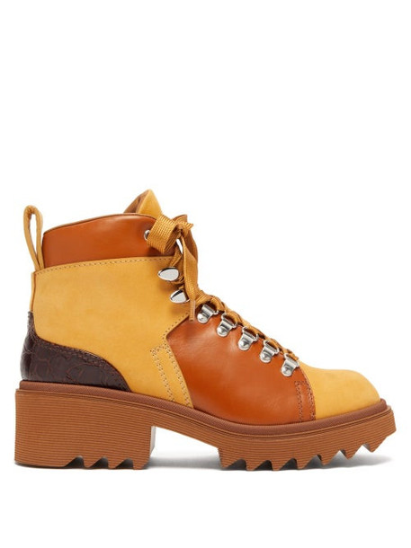 Chloé Chloé - Bella Lug Sole Lace Up Leather Ankle Boots - Womens - Tan Multi