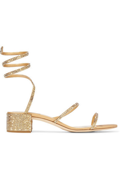 René Caovilla - Cleo Crystal-embellished Satin And Leather Sandals - Gold