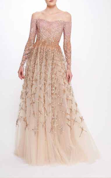 Pamella Roland Cross Hatch Sequin And Off The Shoulder Gown in multi