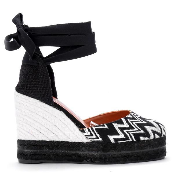 Castañer By Missoni Carina Black And White Fabric Wedge Sandal