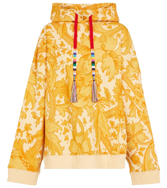 ETRO Printed cotton hoodie in yellow