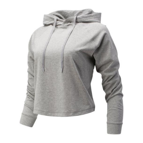 New Balance 93170 Women's Relentless Crop Hoodie - Grey (WT93170AG)