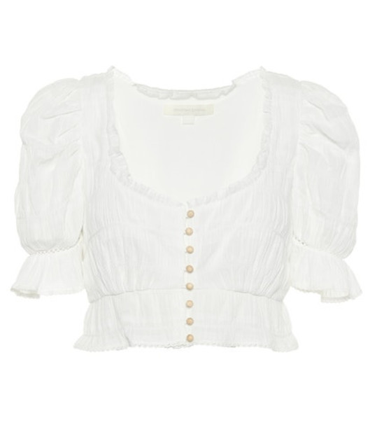 Jonathan Simkhai Broderie anglaise cotton crop top in white