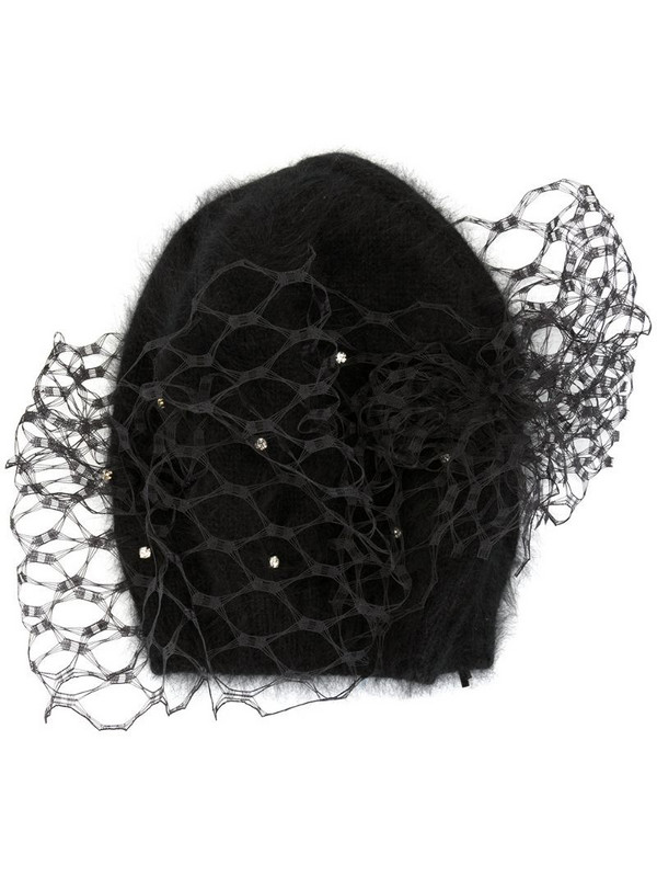 Celine Robert Storal veiled beanie in black