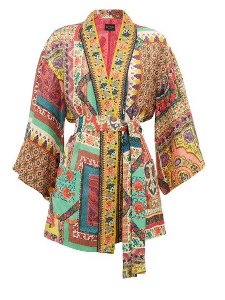 Etro - Dalia Belted Printed Floral-jacquard Jacket - Womens - Red Multi