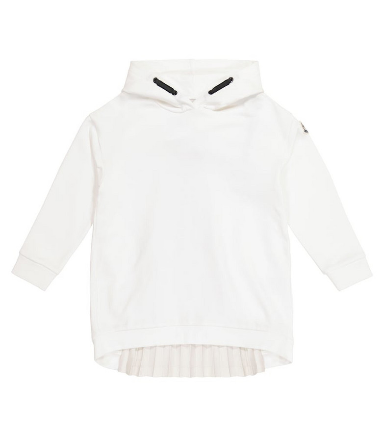 Moncler Enfant Hoodie cotton jersey dress in white