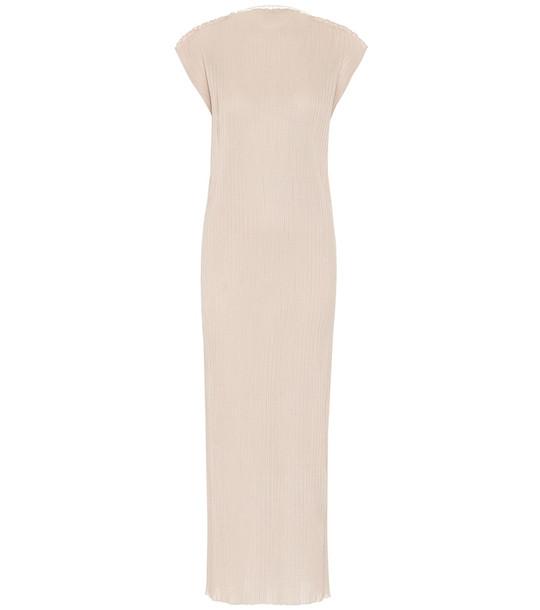 Jil Sander Ribbed jersey maxi dress in beige