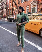 jacket,army green jacket,skinny jeans,ripped jeans,sandal heels,black bag