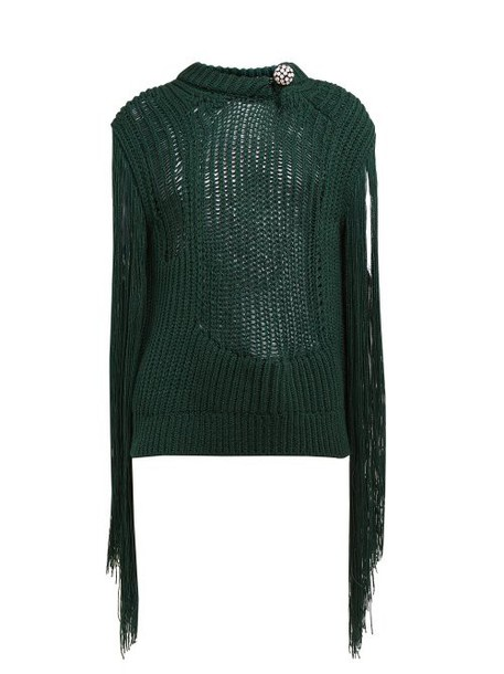 Calvin Klein 205w39nyc - Crystal Brooch Embellished Fringe Sweater - Womens - Green