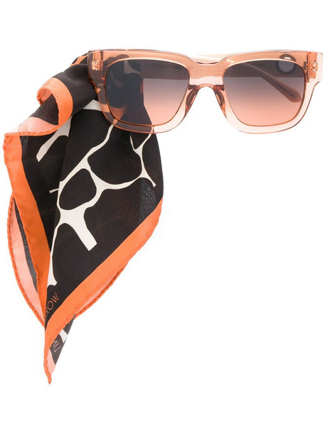 Linda Farrow scarf-embellished sunglasses in pink