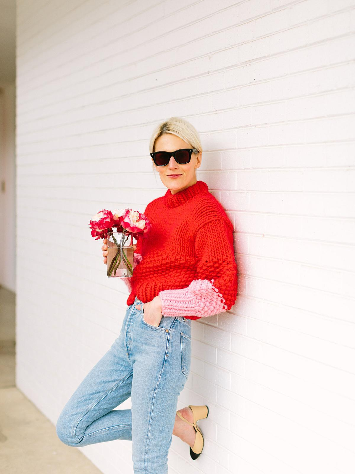 luella & june blogger sweater jeans red sweater slingbacks