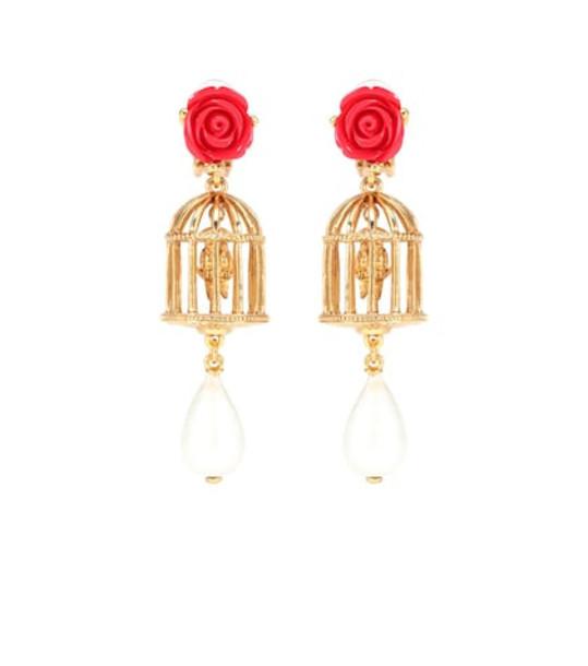 Oscar de la Renta Birdcage clip-on earrings in gold