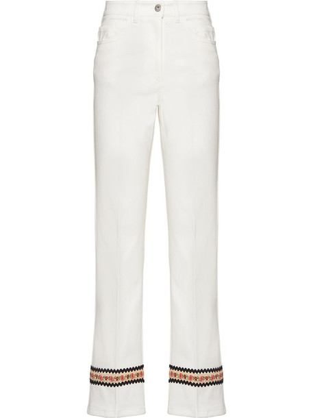 Miu Miu floral embroidery cropped jeans in white