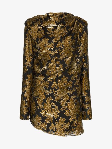 Saint Laurent Bow back long-sleeved mini dress in black