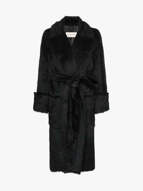 Alexandre Vauthier black belted faux fur coat