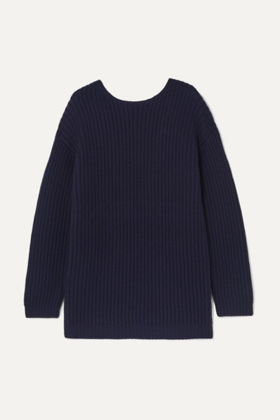 Ninety Percent - Open-back Ribbed Wool Sweater - Navy