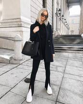 bag,leather bag,black bag,prada bag,white sneakers,platform sneakers,black pants,slit pants,skinny pants,blazer,double breasted,black hoodie