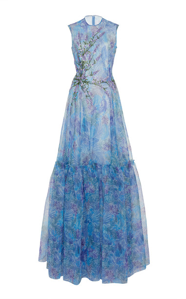 Costarellos Floral-Patterned Tiered Organza Dress Size: 34 in blue