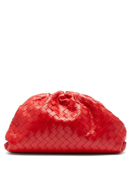 Bottega Veneta - The Pouch Large Intrecciato Leather Clutch Bag - Womens - Red