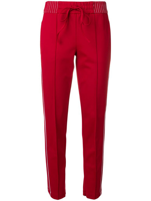 Cambio side stripes slim fit trousers in red