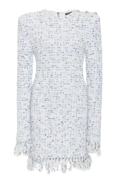 Balmain Fringe Tweed Mini Dress Size: 36 in white