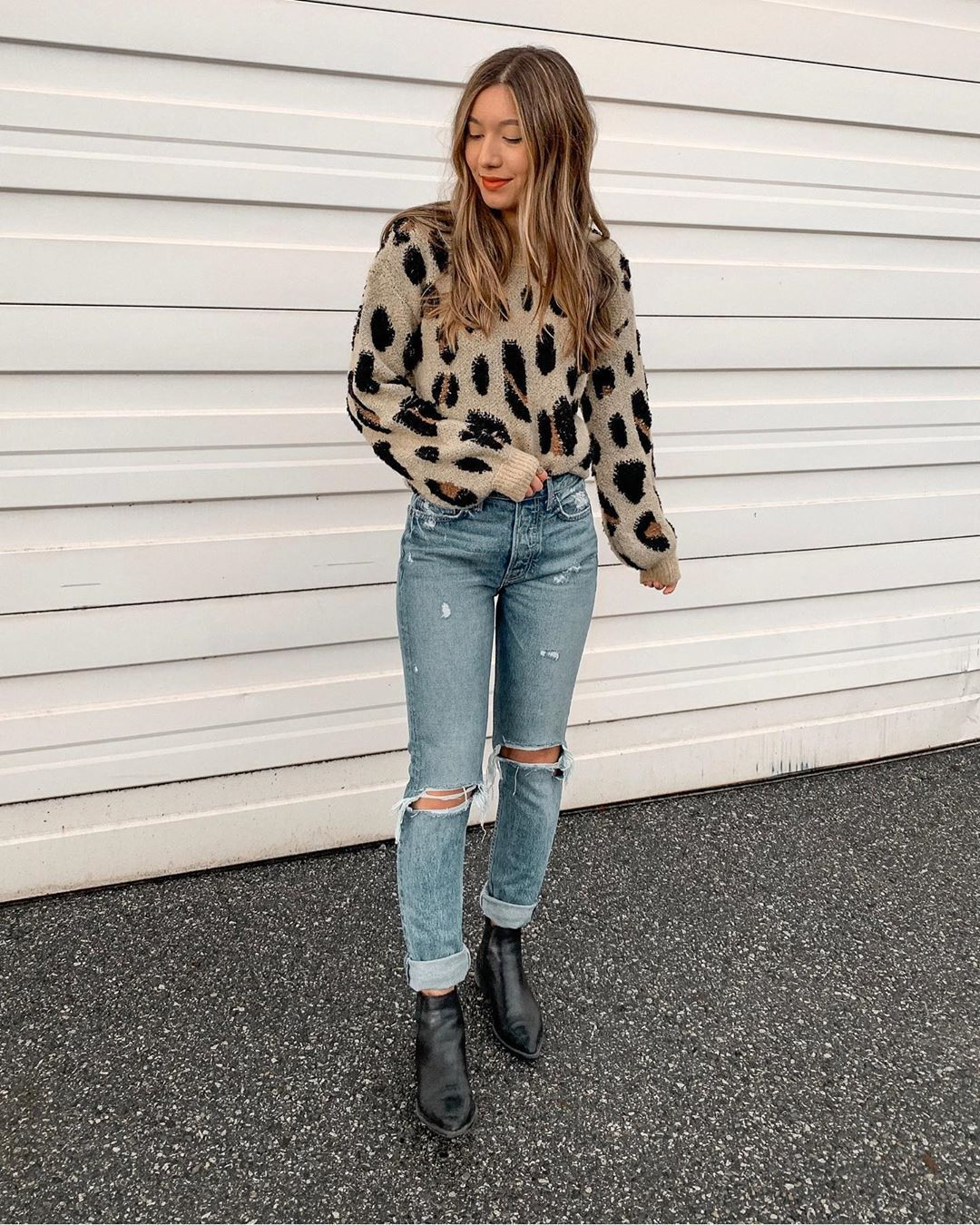 sweater leopard print ripped jeans high waisted jeans ankle boots black boots