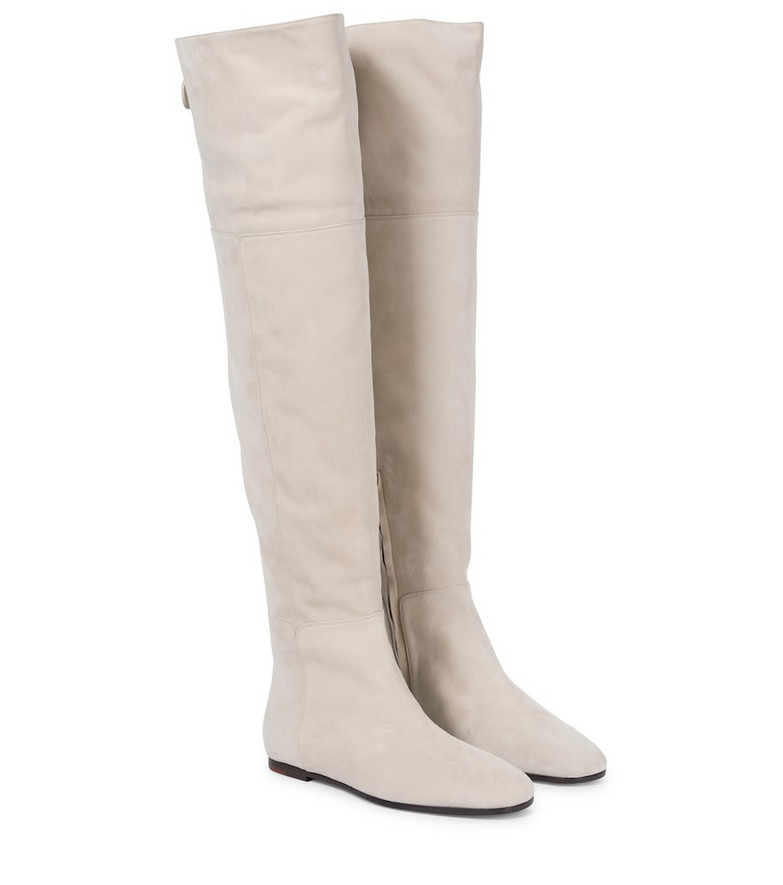Loro Piana Ada over-the-knee suede boots in white