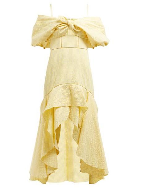 Jonathan Simkhai - Off The Shoulder Gingham Seersucker Dress - Womens - Yellow Multi