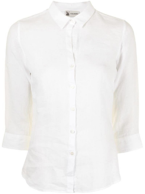 Colombo linen shirt with cropped sleeves in white