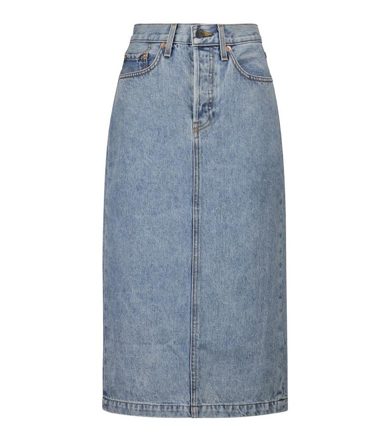 WARDROBE.NYC Midi denim skirt in blue