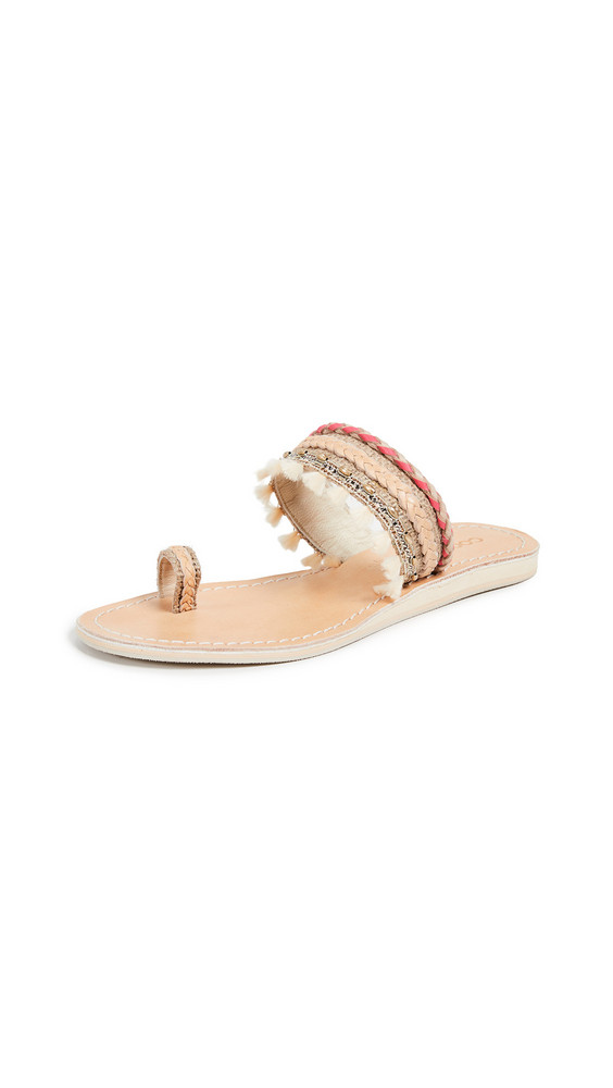 Cocobelle Mahal Toe Ring Sandals in coral