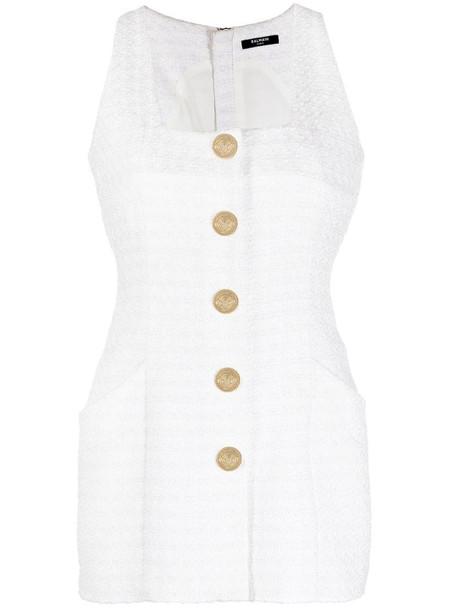 Balmain decorative button-detail dress in white