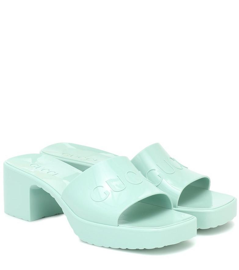 Gucci Logo rubber platform sandals in green