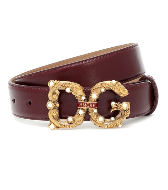Dolce & Gabbana DG Amore leather belt in black