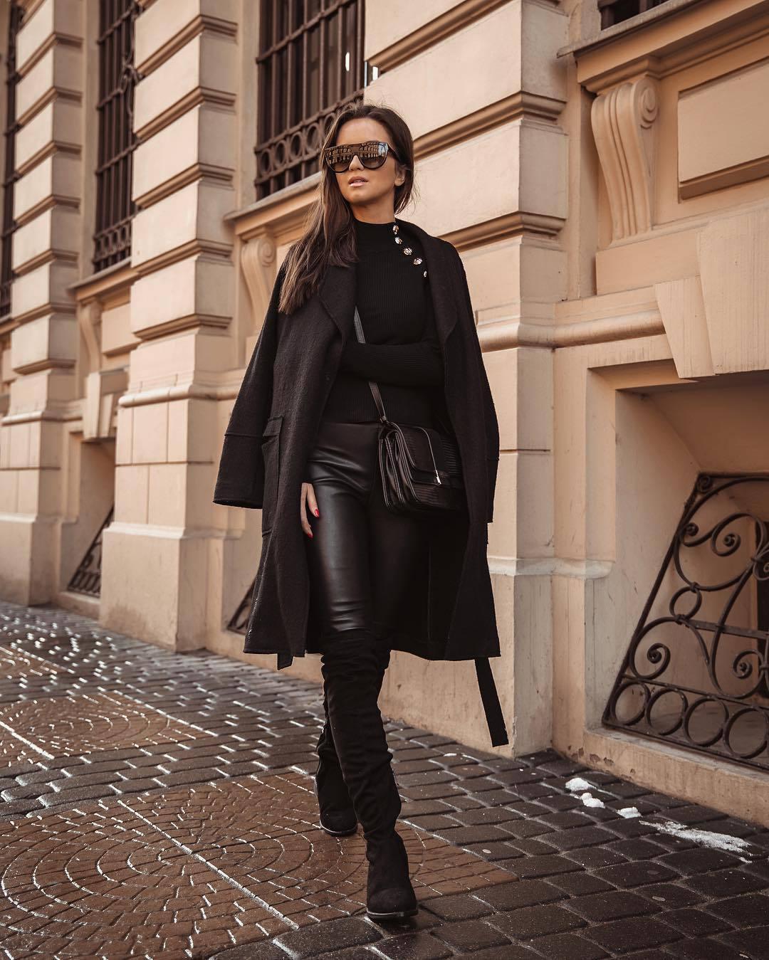 bag black bag zara crossbody bag over the knee boots black boots leather leggings black coat black sweater