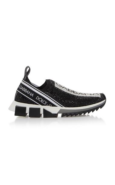 Dolce & Gabbana Bejeweled Logo Cotton Sneaker in black